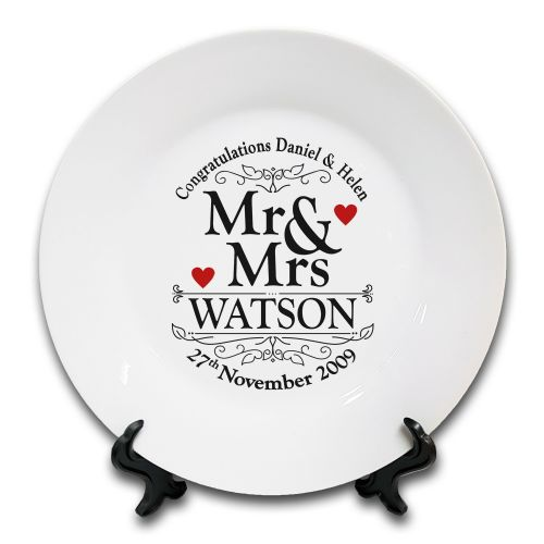 "8"" Personalised Congratulations Mr & Mrs. Commemorative Wedding Novelty Gift Ceramic Plate & Stand"